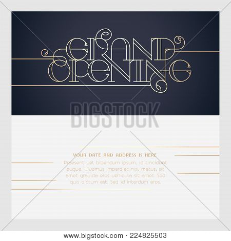 Grand opening vector illustration, invitation card for new store. Template banner, design for opening event