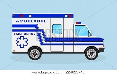 Ambulance car. Emergency medical service vehicle. Blue color hospital transport. Medical emergency tranportation service. Flat style vector illustration.