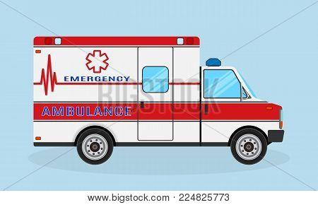 Ambulance car side view. Emergency medical service vehicle. Medics transportation service. Hospital transport. Flat style vector illustration.