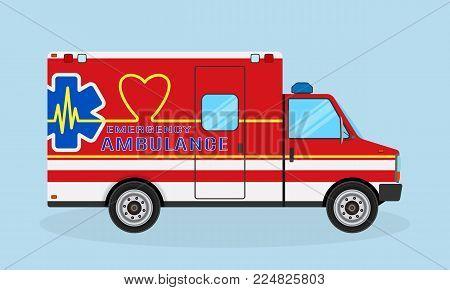Ambulance car side view. Emergency medical service vehicle with heart shape, cardio pulse and medic sign. Medics transportation service. Hospital transport. Flat style vector illustration.