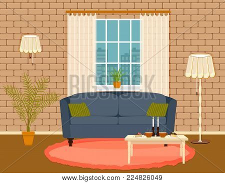 Interior design in flat style of living room with furniture, sofa, , table, houseplant, lamp and window. Cozy domestic room interior with brick wall and carpet on the floor. Vector illustration.