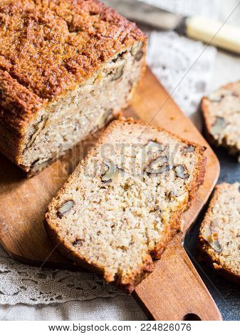 Flourless (almond and coconut flour) banana bread with nuts.