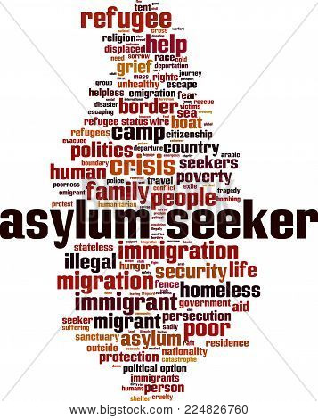 Asylum seeker crisis word cloud concept. Vector illustration on white