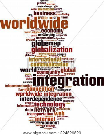 Worldwide integration word cloud concept. Vector illustration on white