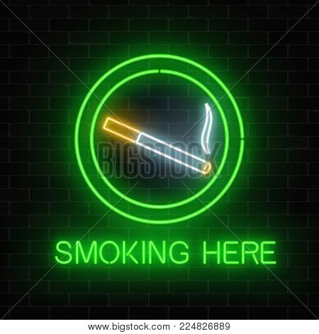Glowing neon sign of smoking place on dark brick wall of nightclub or bar. Nicotine and smoke cigarettes site. Signboard of smoking place. Vector illustration.