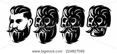 Vector Style Set With Male Head And Skulls With Beard And Mustache.