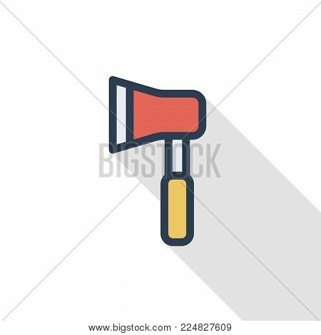AX thin line flat color icon. Linear vector illustration. Pictogram isolated on white background. Colorful long shadow design.