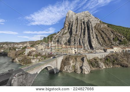Rocher de la Baume - unusual shaped rock in Sisteron, Alpes-de-Haute-Provence, France