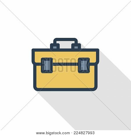 Toolbox thin line flat color icon. Linear vector illustration. Pictogram isolated on white background. Colorful long shadow design.