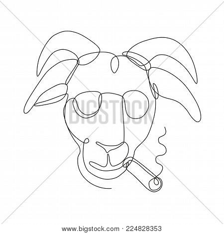 Continuous line drawing illustration of a billy goat wearing sunglasses and smoking a cigar viewed from front done in sketch or doodle style.