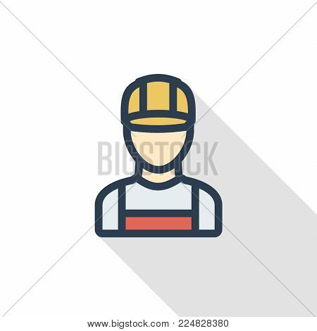 Avatar Builder iin hemlet thin line flat color icon. Linear vector illustration. Pictogram isolated on white background. Colorful long shadow design.