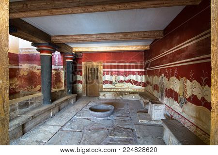 Heraklion, Greece - January 28, 2018: The Hall Of Throne, At The Palace Of Knossos, Famous Ancient C