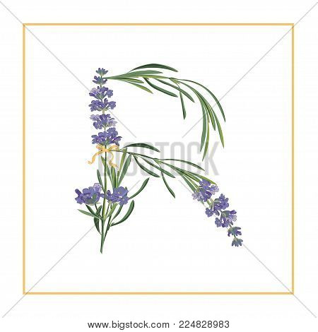 Letter R monogram. Retro sign alphabet with lavender flower initial. Watercolor style, botanical illustration isolated on white. Vintage vector font typeface