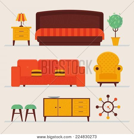 Cozy comfortable retro styled loft living room items set. Convinient sofa and decorative pillows, fashioned styled lamps, tv table, chairs, clock, flower. Vector illustration, fully editable.