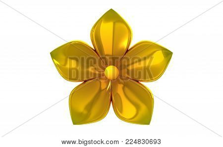 Golden five petal flower isolated on white background