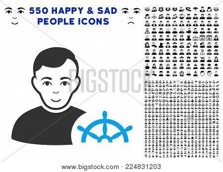 Cheerful Captain vector icon with 550 bonus sad and happy user design elements. Human face has enjoy sentiment. Bonus style is flat black iconic symbols.