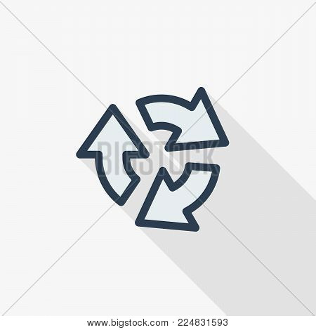 Refresh three arrow rotate thin line flat color icon. Linear vector illustration. Pictogram isolated on white background. Colorful long shadow design.