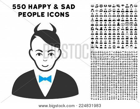 Positive Devil vector icon with 550 bonus pity and happy men design elements. Human face has enjoy sentiment. Bonus style is flat black iconic symbols.