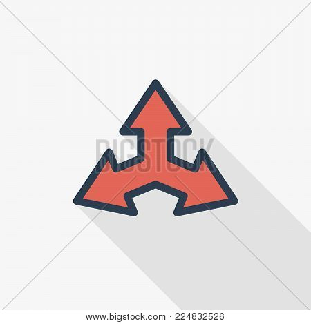 Three-way direction arrow thin line flat color icon. Linear vector illustration. Pictogram isolated on white background. Colorful long shadow design.
