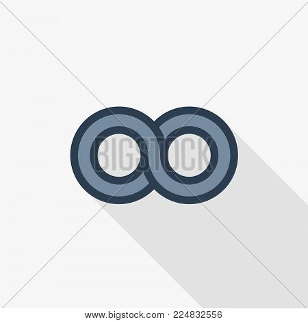 simple infinity symbol, flat line icon. Colorful long shadow design.