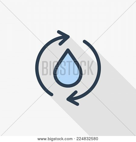 Ecology Recycle With Water Drop thin line flat color icon. Linear vector illustration. Pictogram isolated on white background. Colorful long shadow design.