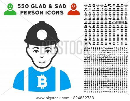 Smiling Bitcoin Miner vector pictograph with 550 bonus pity and happy jobs clip art. Person face has joy sentiment. Bonus style is flat black iconic symbols.