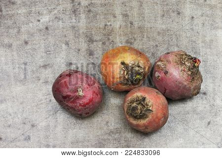 red and yellow beets on a grungy metal background