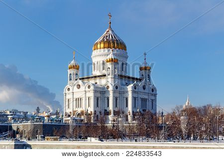 Moscow, Russia - February 01, 2018: Cathedral of Christ the Saviour against the blue sky. Moscow in winter