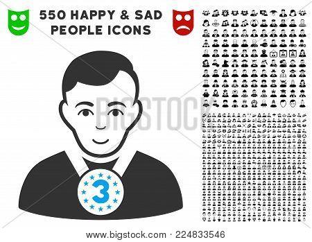 Glad 3rd Prizer Sportsman vector pictogram with 550 bonus sad and glad men pictures. Human face has enjoy emotion. Bonus style is flat black iconic symbols.