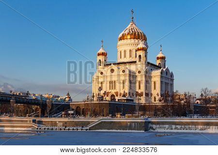 Moscow, Russia - February 01, 2018: Cathedral of Christ the Saviour in Moscow. View from Bersenevskaya embankment