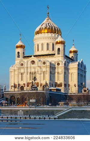 Moscow, Russia - February 01, 2018: Cathedral of Christ the Saviour on Moskva river background. Moscow in winter
