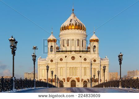 Moscow, Russia - February 01, 2018: Facade of Cathedral of Christ the Saviour in Moscow. View from Patriarshiy Bridge