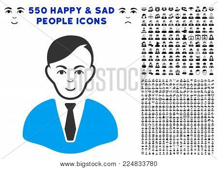 Gladness Businessman vector icon with 550 bonus sad and happy person clip art. Person face has joy emotions. Bonus style is flat black iconic symbols.