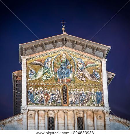 Lucca, Italy - Oct 28, 2017: Church of San Frediano, dedicated to a sixth-century Bishop of Lucca, was built between 1112 and 1147