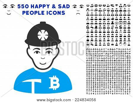 Glad Bitcoin Miner vector pictogram with 550 bonus pity and glad person clip art. Person face has smiling expression. Bonus style is flat black iconic symbols.