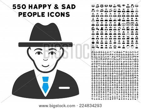 Enjoy Agent vector pictogram with 550 bonus sad and happy jobs pictures. Human face has glad sentiment. Bonus style is flat black iconic symbols.