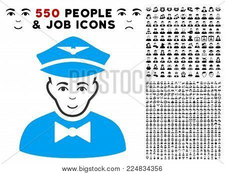 Glad Airline Steward vector pictogram with 550 bonus sad and happy men design elements. Person face has enjoy mood. Bonus style is flat black iconic symbols.