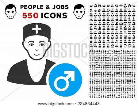 Cheerful Andrologist Doctor vector pictogram with 550 bonus sad and happy person pictographs. Person face has enjoy sentiment. Bonus style is flat black iconic symbols.
