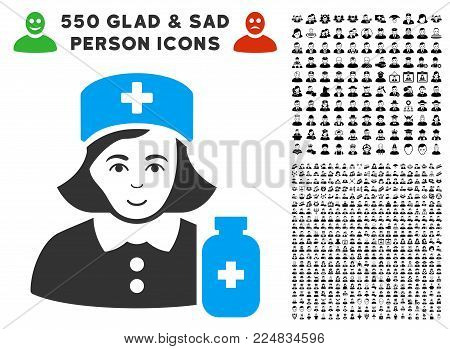 Happy Apothecary Lady vector pictograph with 550 bonus sad and happy people images. Person face has happy feeling. Bonus style is flat black iconic symbols.