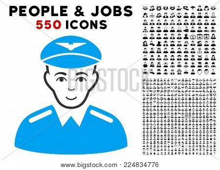 Glad Aviator vector icon with 550 bonus pity and glad jobs symbols. Person face has glad sentiment. Bonus style is flat black iconic symbols.