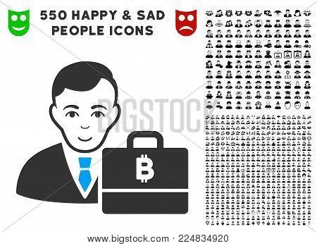 Enjoy Baht Accounter vector icon with 550 bonus sad and glad jobs symbols. Person face has happiness sentiment. Bonus style is flat black iconic symbols.