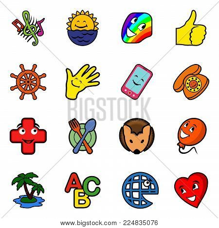 Collection with sixteen different funny icons on white background