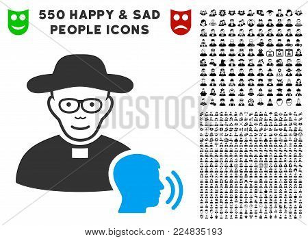 Positive Believer Confession vector pictograph with 550 bonus pitiful and glad user images. Person face has joyful expression. Bonus style is flat black iconic symbols.