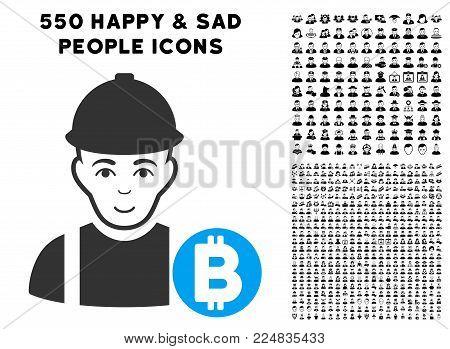 Gladness Bitcoin Miner vector pictogram with 550 bonus sad and happy men graphic icons. Person face has glad feeling. Bonus style is flat black iconic symbols.
