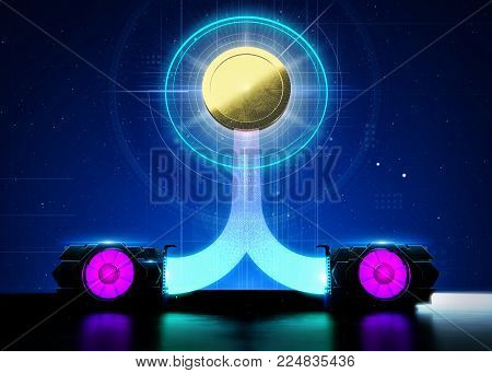 abstract cyber space with 2 gpu videocards farming cryptocurrency. Blockchain bitcoin etherium Mining Concept. 3D render illustration