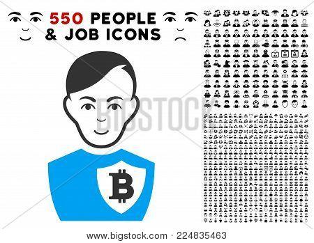 Enjoy Bitcoin Police Officer vector pictograph with 550 bonus sad and happy men clip art. Person face has joy emotions. Bonus style is flat black iconic symbols.