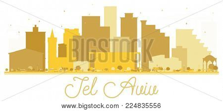 Tel Aviv Israel City skyline golden silhouette. Simple flat concept for tourism presentation, banner, placard or web site. Tel Aviv Cityscape with landmarks.