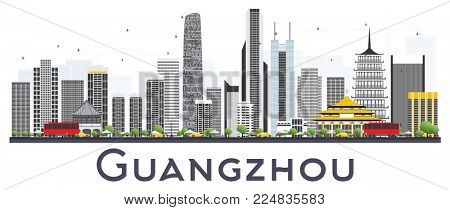 Guangzhou China City Skyline with Gray Buildings Isolated on White Background. Business Travel and Tourism Concept with Modern Buildings. Guangzhou Cityscape with Landmarks.