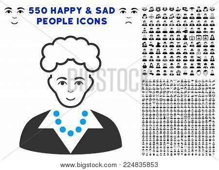 Glad Blonde Lady vector pictograph with 550 bonus sad and glad jobs clip art. Human face has joyful feeling. Bonus style is flat black iconic symbols.