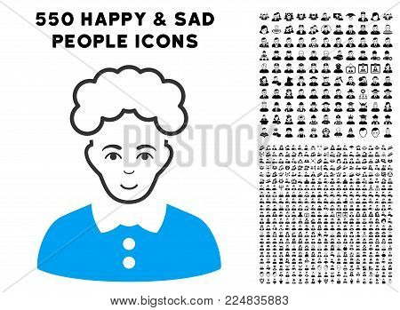 Smiling Blonde Woman vector pictograph with 550 bonus sad and happy user clip art. Person face has smiling emotions. Bonus style is flat black iconic symbols.